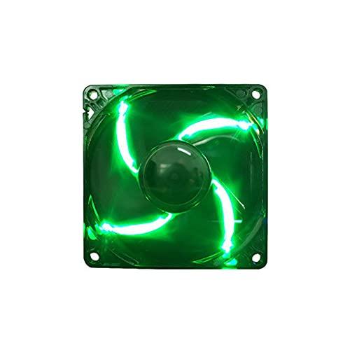 Ventilador de computadora PC Ventilador de refrigeración de 80 mm silencioso ventilador de refrigeración LED para PC y enfriador de CPU Anillo LED CaseRadiador Ventilador PC Piezas (Color: Verde)