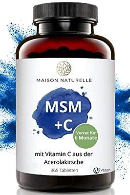 MAISON NATURELLE® - MSM 2000mg Tabletten (365 Stück) + Vitamin C aus Acerola Kirsche – MSM Pulver hochdosiert – MSM Kapseln Schwefel, Vegan, MSN, MMS, Gelenke