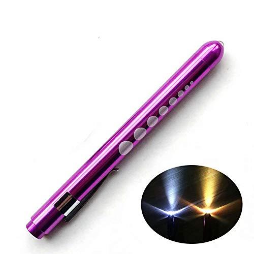HANBIN Antorcha LED Linterna con Pupila Gauge para Doctor Enfermera EMT Emergencia Médica Primeros Auxilios Lápiz médico Luces Linterna de enfermería reutilizable Lápiz Purple Shell Yellow Light