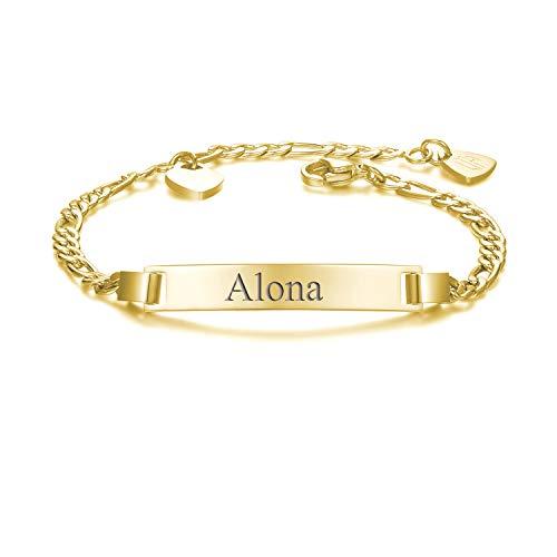 URBANHELDEN - Armband mit Wunschgravur - Graviertes ID-Armband mit Herz-Anhänger - Damen Gravurarmband Name - Armkette Schmuck - Bar Basic Gravur - in Gold
