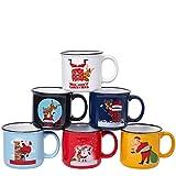 Coffee Mug Set Set of 6 Large-sized 14 Ounce Christmas Theme Ceramic Coffee Mugs Restaurant Coffee Mugs, Multi Colors