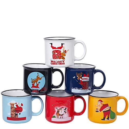 Kaffeetassen-Set aus Keramik, groß, ca. 400 ml, Weihnachtsmotiv, mehrfarbig, 6 Stück