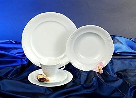 Preisvergleich für Frederike Design Weiss Kaffeeservice 18 teilig Neu Relief Porzellan Geschirr Set 6 Personen