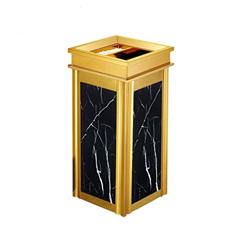 1yess Mülleimer Edelstahl Mülleimer, quadratischer Papierkorb mit Aschenbecher, Abfalldose für den Innen- oder Gebrauchsmüllabfallbehälter (Farbe: f) (Color : C)