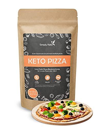 Simply Keto Low Carb & Keto Pizza Baking Mix - Para 2 pizzas o 1 bandeja de pizza - Sólo 2,8g de carbohidratos por 100g - Proteína vegana - Sin gluten y bajo en calorías - 290g