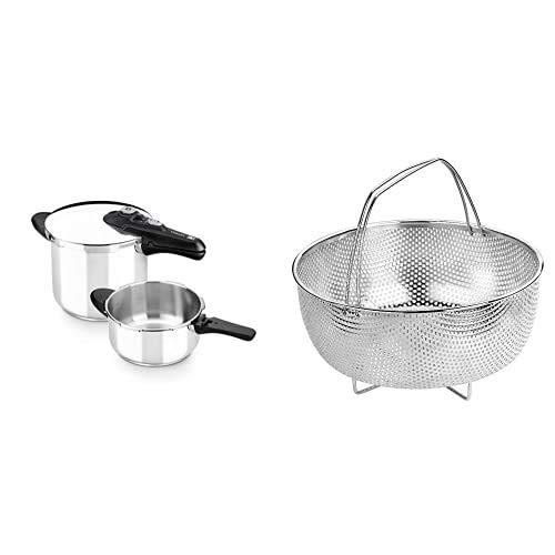 BRA Olla, Metal, Plata, 4 y 7 litros + Cestillo multiusos de acero inoxidable para una cocina al vapor.