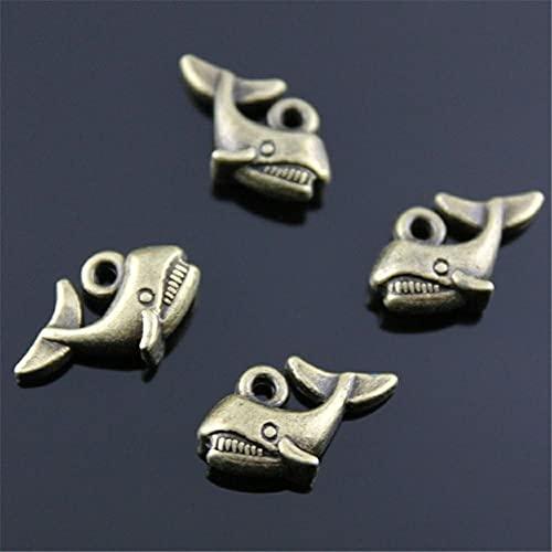 WANM Colgante 10 Uds Amuletos De Tiburón Color Bronce Antiguo 15X10Mm Aleación De Metal Joyería Accesorios De Bricolaje