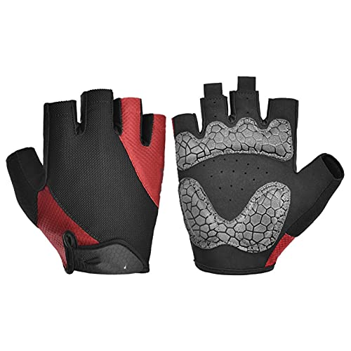 JTXQSI Summer Cycling Gloves Shockproof Thicken Pad Half Finger Cycling Gloves For Sport Hiking MTB Motorcycle Bike Gloves (Color : Red, Size : L)
