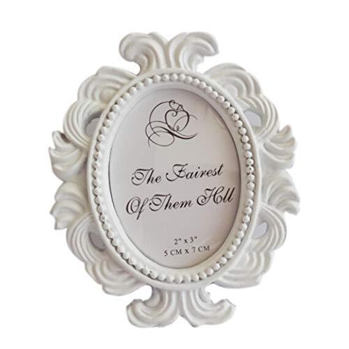 WWWL Marco de fotos floral marco de fotos elíptico marco de fotos pequeño barroco titular de fotos de escritorio marco de fotos de boda decoración regalo de boda NO2