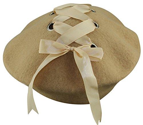 ミナコライフレディースリボン付きベレー帽シンプル無地ブラックレースアップお姫様風フェルト製帽子キャップ(ベージュ)