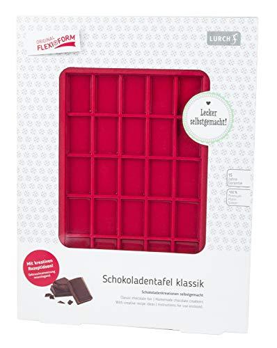 Lurch 83092 Moule Chocolat Classique Flexiform 120x205mm, Silicone, Rouge Rubis, 20 x 15 x 10 cm