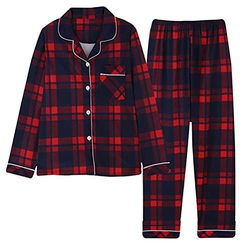 2021 primavera Plaid traje de casa de dos piezas para las mujeres de manga larga solapa pantalones pijamas