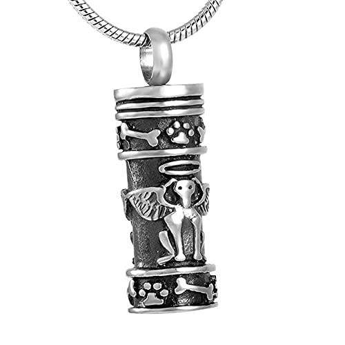 TIANZXS Estilo Angel Paw Dog Mini Ash Urns Lockets Pet Memorial Urn Colgante y Collar para Animal