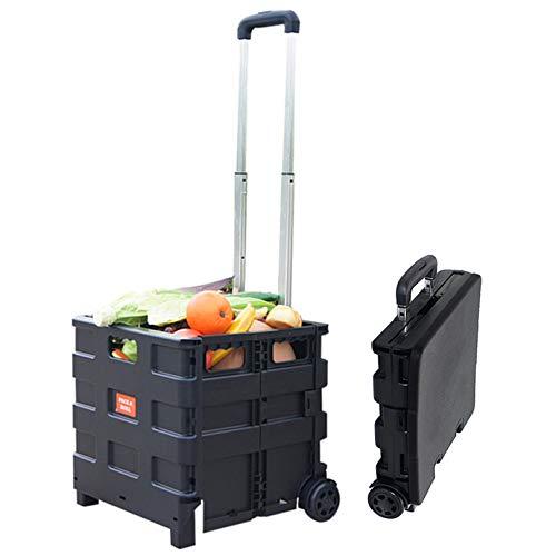 Carrito de Compras, Carro Plegable Supermercado Caja de Comestibles Carrito con Ruedas...