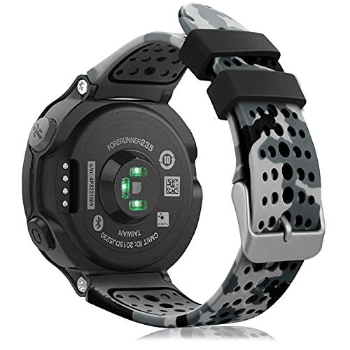FINTIE Cinturino Compatible con Garmin Forerunner 235 Watch, Band di Ricambio in Silicone Morbido Compatibile con Garmin Forerunner 235/220/230/620/630/735XT, Camo Gray