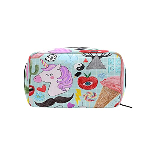 Bolsa de cosméticos para mujeres y niñas Trave bolsa de maquillaje neceser bolsa accesorios organizador Doodles unicornio caballo donuts Icea crema patrón