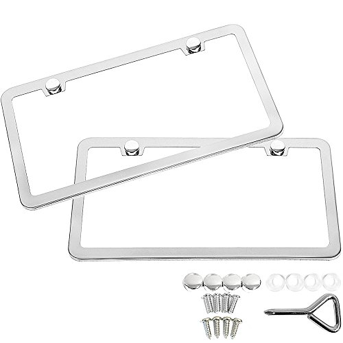 SunplusTrade 2 PCS Stainless Steel Polish Mirror License Plate Frame + Chrome Screw Caps (Silver)