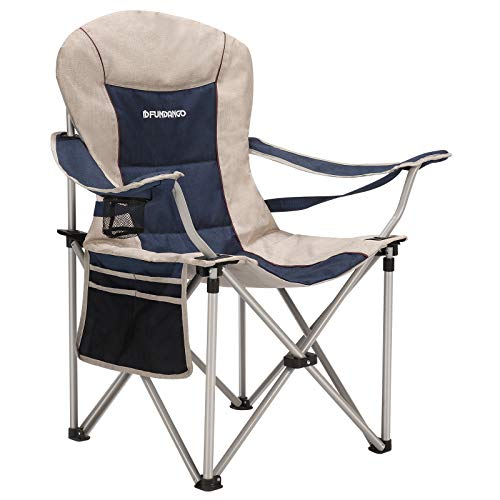 FUNDANGO Lumbar Support Strong Stable Heavy Duty Folding Deluxe Camping Chair, One Size, Blue/Beige