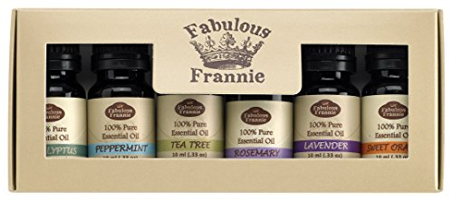Fabulous Frannie Essential Oil Basic Sampler Set 6/10ml - 100% Pure Therapeutic Grade - Great for Aromatherapy