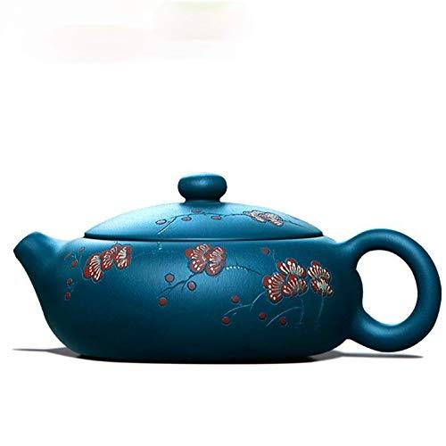 WANZSC Tetera famosa pura auténtica hecha a mano verde barros día claro fango plano Xi Shi 170cc 9 agujeros teteras chino gongfu té