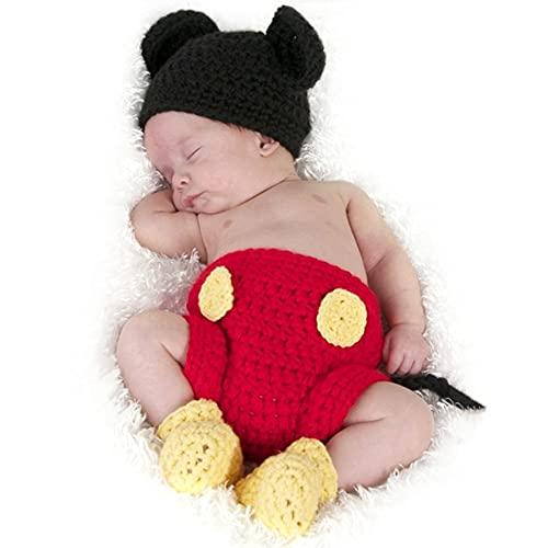 Jastore Maus Fotografie Prop Baby-Kostüm Süss Crochet häkeln Strickmütze Hut Cap Mädchen Jungen Windel Schuhe Maus