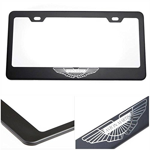 UFRAME License Plate Holder for Aston Martin with Real Laser Engraving Logo on 100% Stainless Steel Black Powder Coated Front and Back Comes with Srew caps