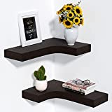 Cayln Corner Shelves Wall Mounted, Invisible Mounting Brackets, Thick Rustic Wood Corner Floating Shelves for Bedroom, Living Room, Bathroom, Kitchen, Set of 2, Brown