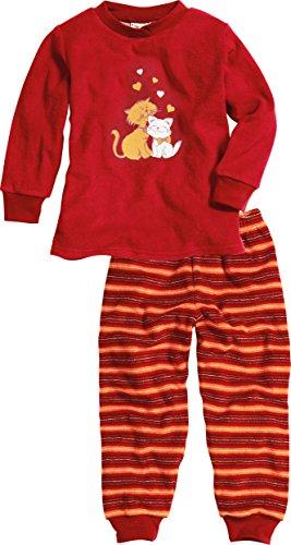Playshoes Mädchen Frottee Katzen Zweiteiliger Schlafanzug, Rot (original 900), (Herstellergröße: 110)