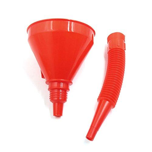 sourcingmap Bec flexible en plastique rouge Moto Filtre à huile entonnoir carburant gaz Eau