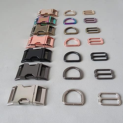Snger Collar de Perro para Mascotas Anillo en D de Metal Deslizador de cinturón Accesorio de Hebilla de liberación Lateral Hardware de arnés para Exteriores