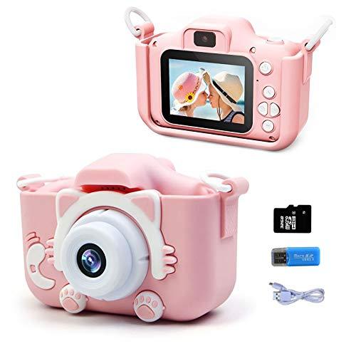 2020 Anti Mejorado-drop Kids Cámara De Video Digital Portátil, Cámaras De Doble Lente De Vídeo HD De 20MP 1080P, Pantalla IPS De 2.0 Pulgadas,Tarjeta SD De 32 GB,Gran Regalo Para 3-12 Y (rosado)