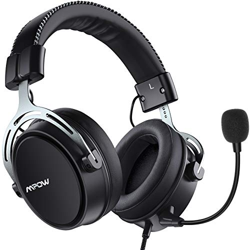 Mpow Air SE Gaming Headset für PS4/PC/Xbox One/Switch/Mac, 3.5 mm Headphone mit Noise Cancelling-Mikrofon, Over-Ear Gaming Kopfhörer mit 3D Surround Sound, Inline-Steuerung, Silber Metallmaterial
