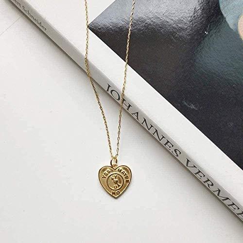 Yiffshunl Collar Collar Collar geométrico Collar con Colgante en Forma de corazón Dorado Cadena Premium Regalo de joyería para Mujer