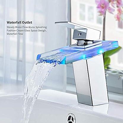Foto di Auralum® elegante RGB LED Glass miscelatore del rubinetto di cromo rubinetto del bacino della cascata lavabo per il bagno Bagno Cucina