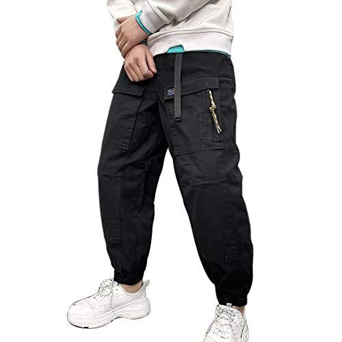 Herren Ausgebeult Hip Hop Ladung Hosen zum Jungen Sports Strassenmode und Skateboard Jogger Black M