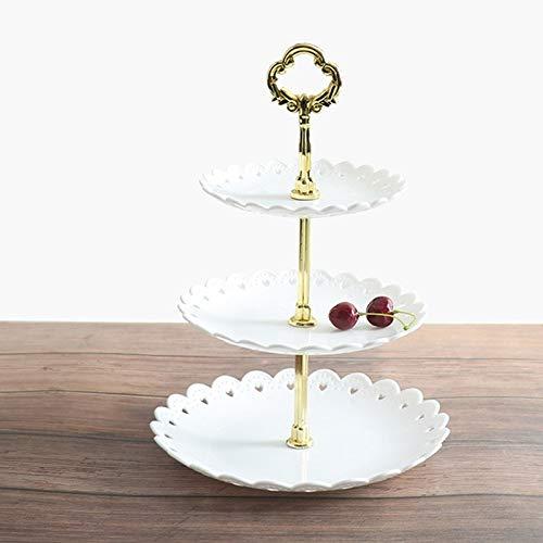 Soporte de 3 niveles para tartas y postres, para té, bodas, fiestas, platos de mesa, bandeja de plástico de múltiples capas, bandeja para aperitivos y dulces (color: WT)