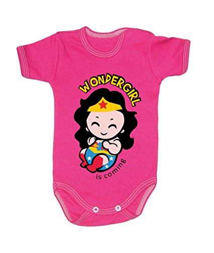 BColour Fashion Body Wonderwoman pour bébé, taille 24 mois, 100 % coton rose 3-6 months, 68 cm