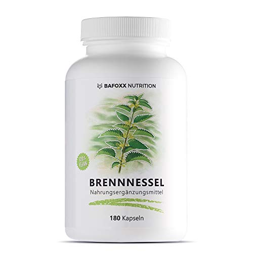 BAFOXX Nutrition® Brennnessel Kapseln hochdosiert - 180 Stück - Naturprodukt mit 450 mg reinem Brennnesselblattpulver - vegan und ohne Zusatzstoffe - deutsche Markenqualität