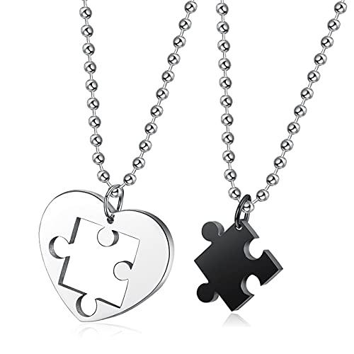 Collar Joyas Collar con Colgante De Rompecabezas En Forma De Corazón Creativo para Pareja Accesorios De Moda De 4 Colores De Acero Inoxidable Regalos