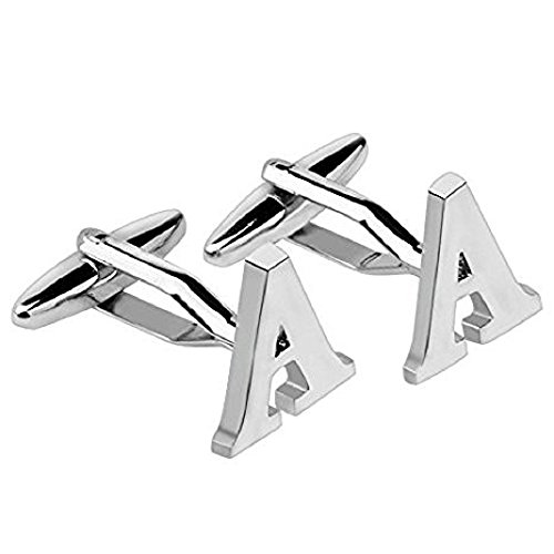 Global Accessorie Letter A Silver Cuff links With Gift Box