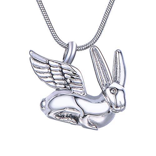 HooAMI メモリアルペンダント ネックレス 防水仕様 デザイン 遺骨ペンダントレディース メンズ ステンレス Angel Wings Rabbit 動物 24.6mm×22.1mm
