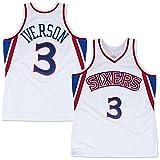 QJJ Camiseta de baloncesto retro Philadelphia 76ers #3 Allen Iverson Swingman Jersey clásico bordado baloncesto camiseta transpirable chaleco blanco-S