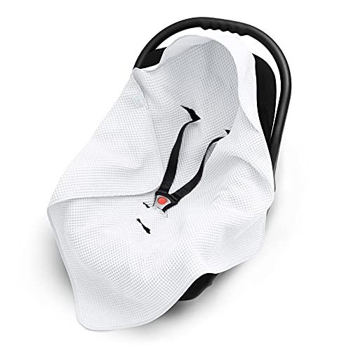 EliMeli Einschlagdecke für Babyschale 100% Baumwolle Leichte Baby Decke für Autositz aus Waffelstoff universal z.B. Maxi Cosi Ideal als Babyhörnchen Kuscheldecke Kinderwagedecke (Weiß)