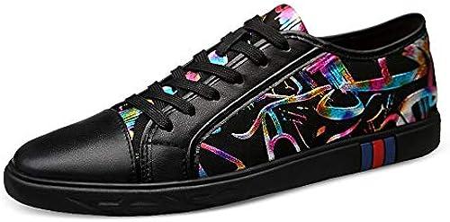 EGS-schuhe Turnschuhe für Herren Sportschuhe Schnürschuhe aus OX Leder mit passender Farbe Klassische runde Zehenschuhe,Grille Schuhe (Farbe   Schwarz Größe   37 EU)