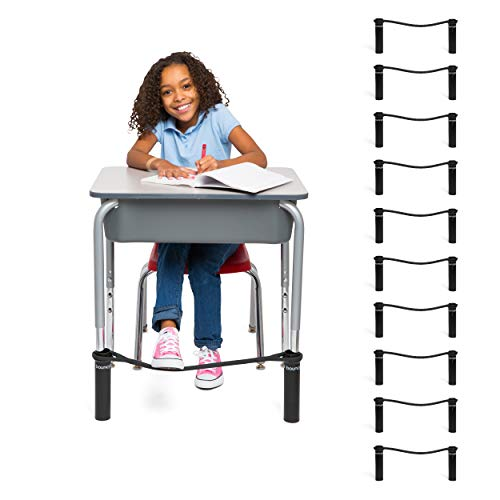 Original Bouncy Bands for Elementary Kids Desks (Black, Pack of 10) - Allows Students to Move While Working, Increasing Focus, Improving Academic Performance and Relieving Anxiety and Hyperactivity