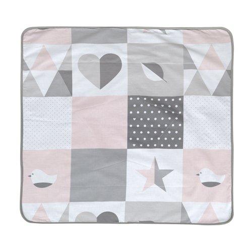 roba Babydecke 'Happy Patch rosa', Decke zum Kuscheln, Krabbeln & Spielen, 2 seitig, 2 Funktionen: 1x super weich, warm & flauschig, 1 x 100% Baumwolle