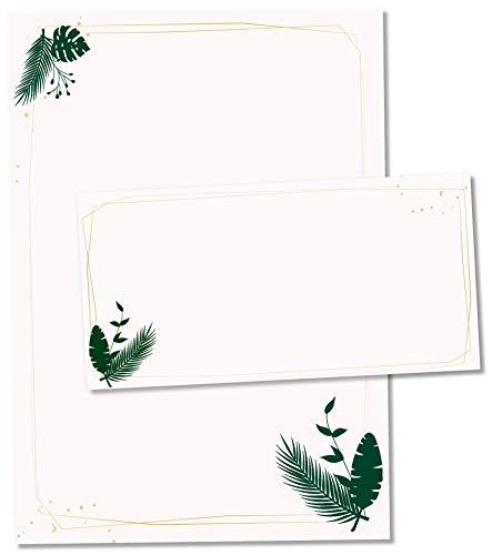 TYSK Design Briefpapier Modern Farn Beige (Design wählbar) 50 Blatt DIN A4, 25 Umschläge - Papier-Set mit Motiv, Schreibpapier, Designpapier für Briefe, Notizen