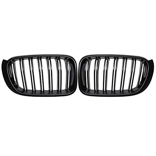 XKCCHW Parrilla de Carreras, para F25 F26 X3 X4 2014 2015 2016 2017 Bumper Gloss Black Matt Black M Color 2 Listones de línea Parrilla de riñón Delantal Delantero, Negro Brillante 1 listón