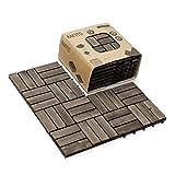 Solid Wood Interlocking Flooring Tiles (Pack of 10), 12' x 12', Patio Tiles Outdoor Interlocking Waterproof All Weather (12 Slat, Walnut Color)