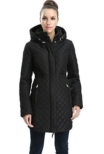 BGSD Women's Angela Waterproof Quilted Parka Coat Black X-Large